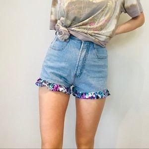 Vintage floral trim high waisted denim shorts